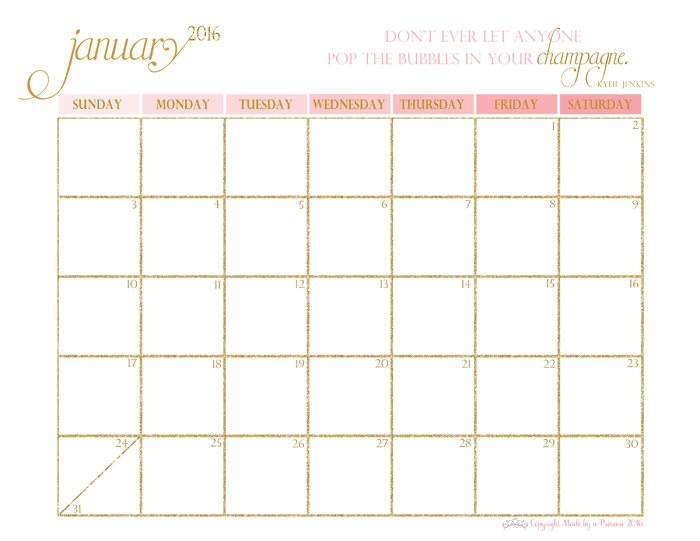 made by a princess free printable calendar 2016 january