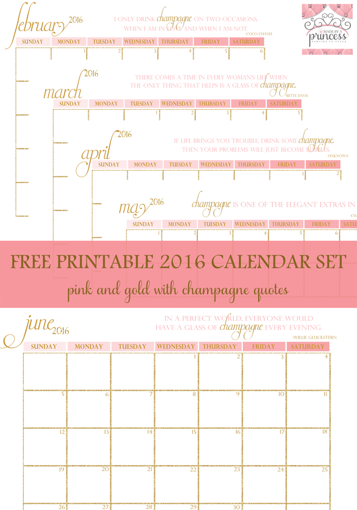 made by a princess free printable calendar 2016 pin it
