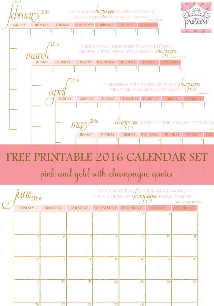 made by a princess free printable calendar 2016 pin it