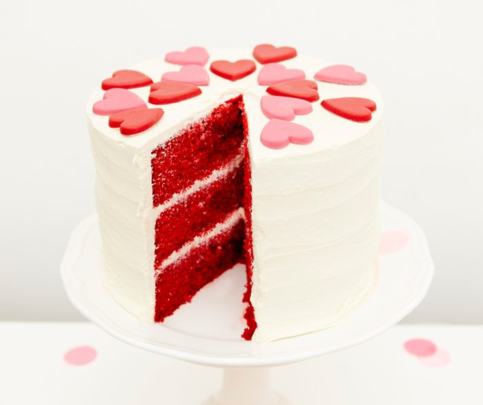 Kissing Booth Valentines Day Party red velvet cake