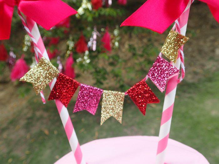 Sweet Party for Sweet Girls glitter cake banner