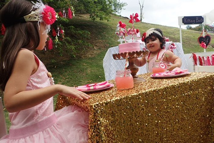 Sweet Party for Sweet Girls gold tablecloth