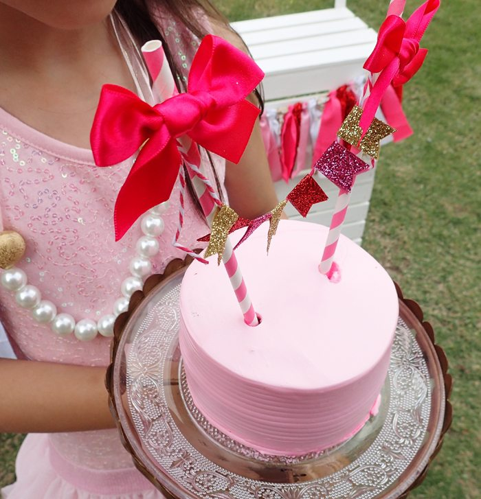 Sweet Party for Sweet Girls pink cake with glitter banner