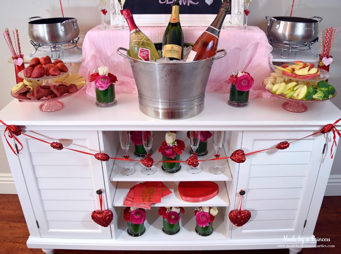 galentines day champagne fondue buffet table