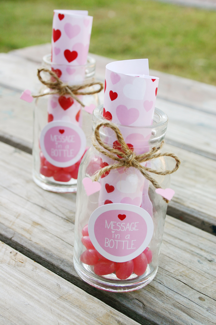 message in a bottle valentines party favors with jelly beans