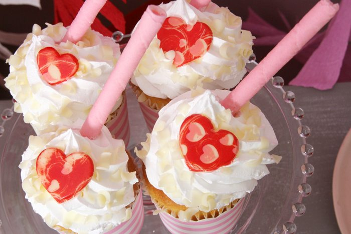 sweethearts treats for two cupcakes topped with chocolate