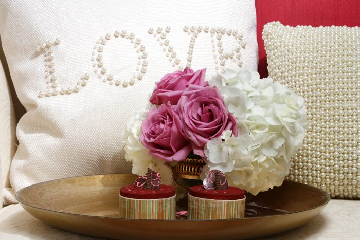 sweethearts treats for two love pillow and flowers
