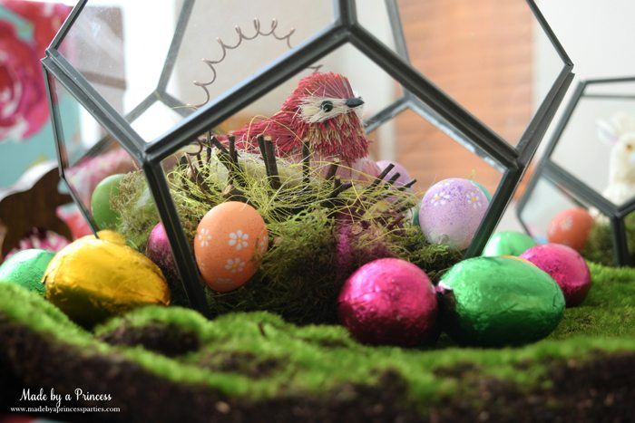 Easy Easter Entertaining Ideas terrarium with bird side view