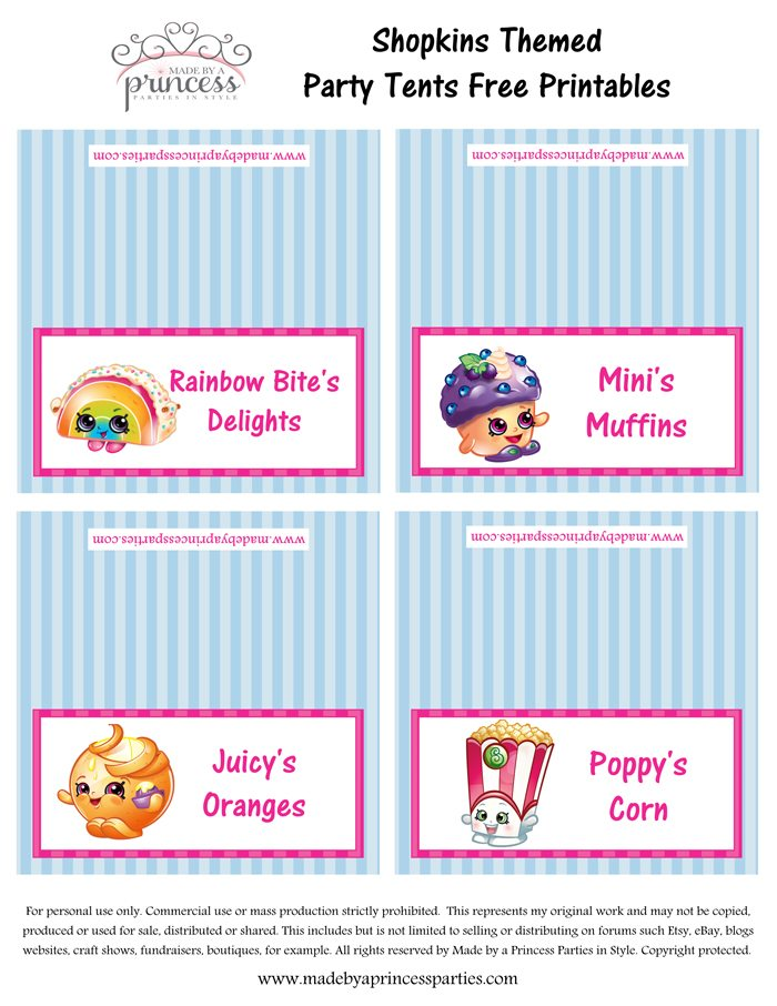 Shopkins Inspired Food Tents FREE Printables Set 2 Made by a Princess