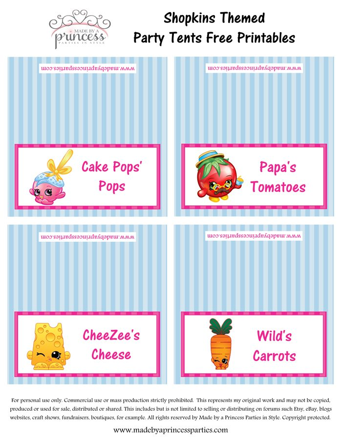 Shopkins Inspired Food Tents FREE Printables Set 5 Made by a Princess