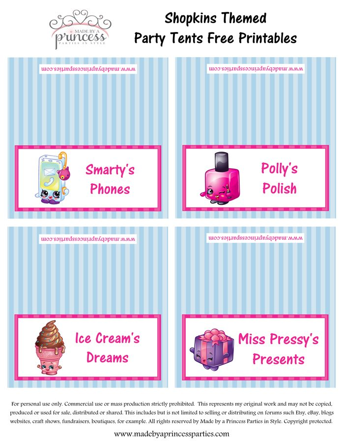 Shopkins Inspired Food Tents FREE Printables Set 6 Made by a Princess