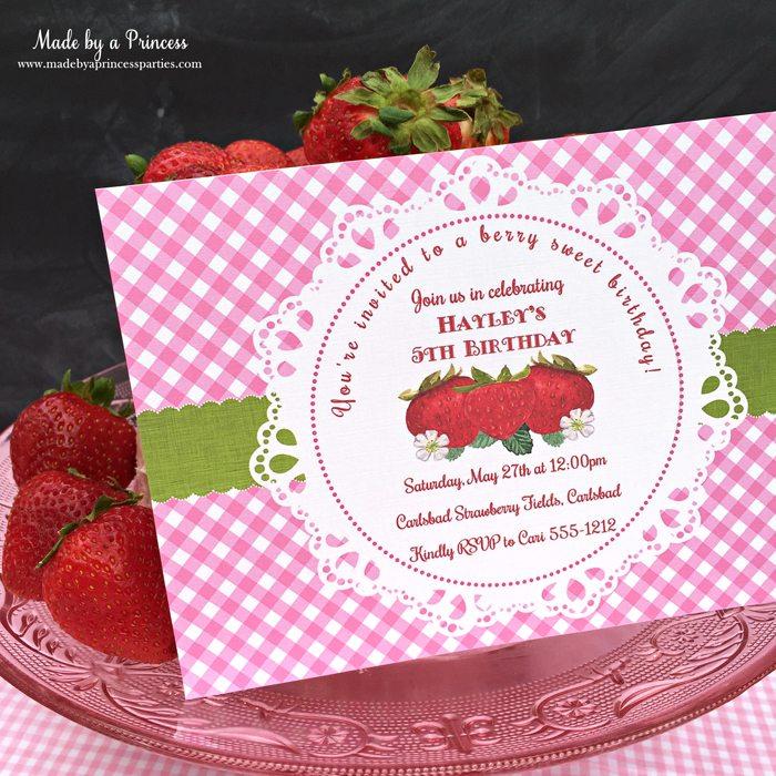 strawberry lemonade cake cream cheese frosting strawberry invitation
