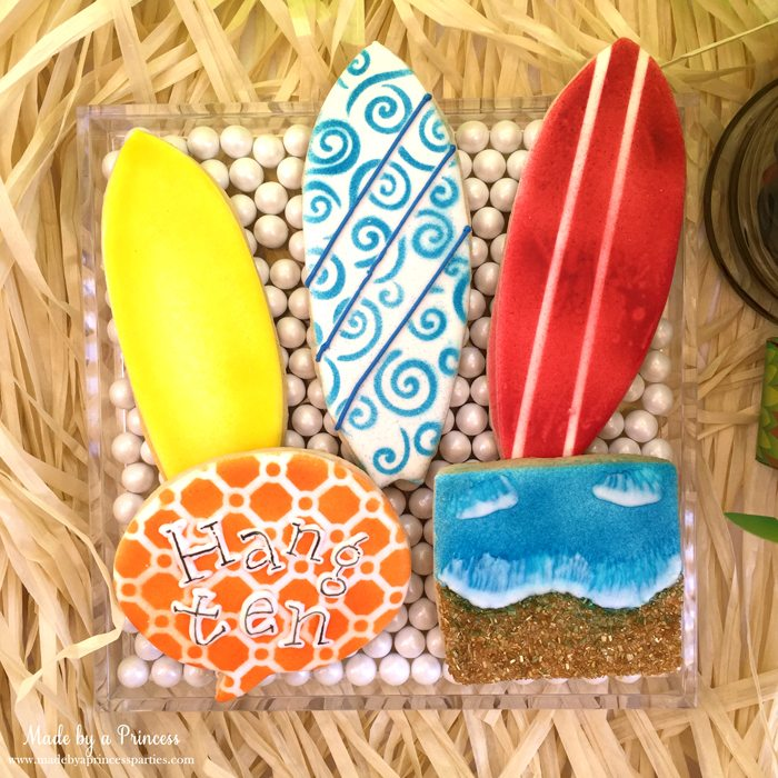 surfs up graduation party with evite cookies