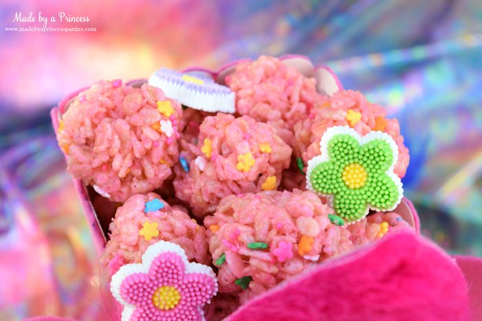 trolls-movie-princess-poppy-popcorn-box-party-pink-rice-krispie-treat-balls-with-flower-sprinkles-and-flower-candies