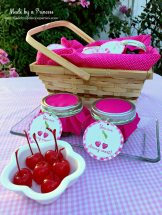 Mason Jar Cherry Brownies in a basket with custom printables