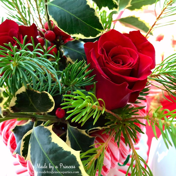 budget-friendly-holiday-mimosa-bar-party-red-roses-in-christmas-arrangement