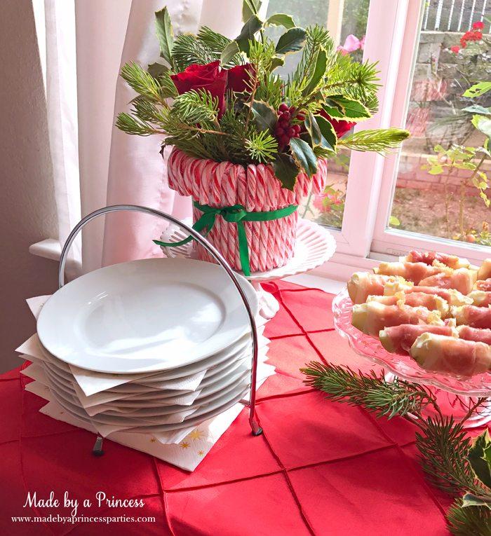 budget-friendly-holiday-mimosa-bar-party-stacked-plates-and-napkins