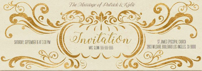 Evites #NeartheKnot Engaged Couple Photo Contest gold scroll invite