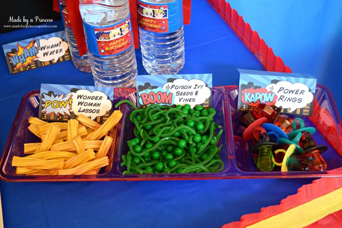 Superhero-Inspired-Party-Food-Ideas-Free-Printables-wonder-woman-lassos-poison-ivy-seeds-vines-power-rings