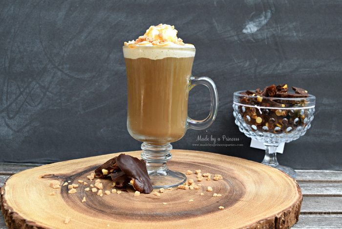 Copycat Creme Brulee Latte Recipe with homemade dark chocolate English toffee