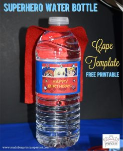 Superhero Water Bottle Cape Party Idea Free Printable