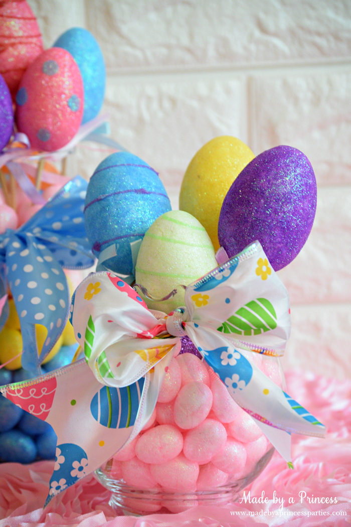 Creative Dollar Store Easter Centerpiece Tutorial pink mini eggs and eggs on sticks