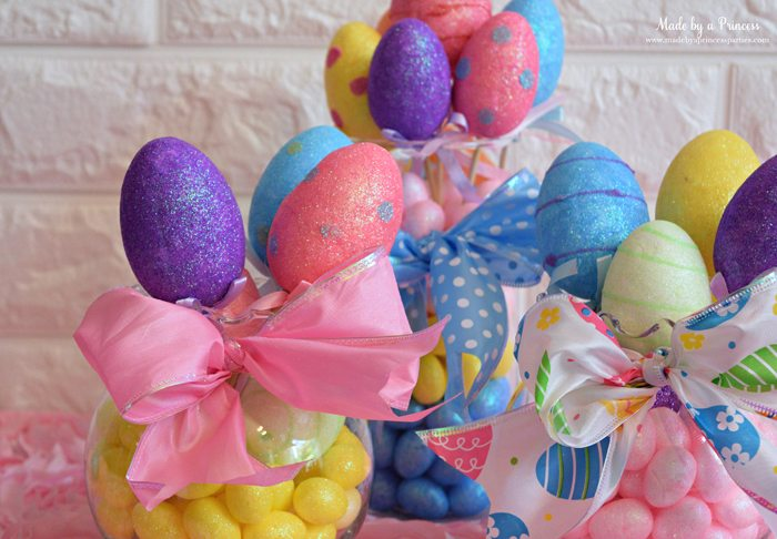 Creative Dollar Store Easter Centerpiece Tutorial yellow mini eggs and eggs on sticks