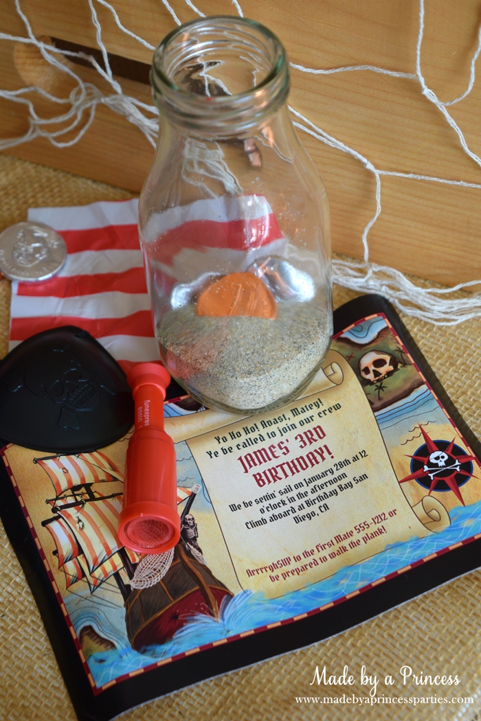 Pirate Bottle Invitations Party Idea birthday invite from birthday in a box and place in glass milk bottle
