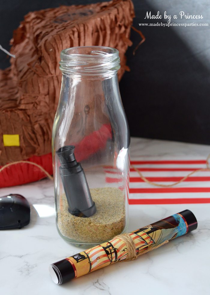 Pirate Bottle Invitations Party Idea glass milk bottle with sand then roll twine around invite