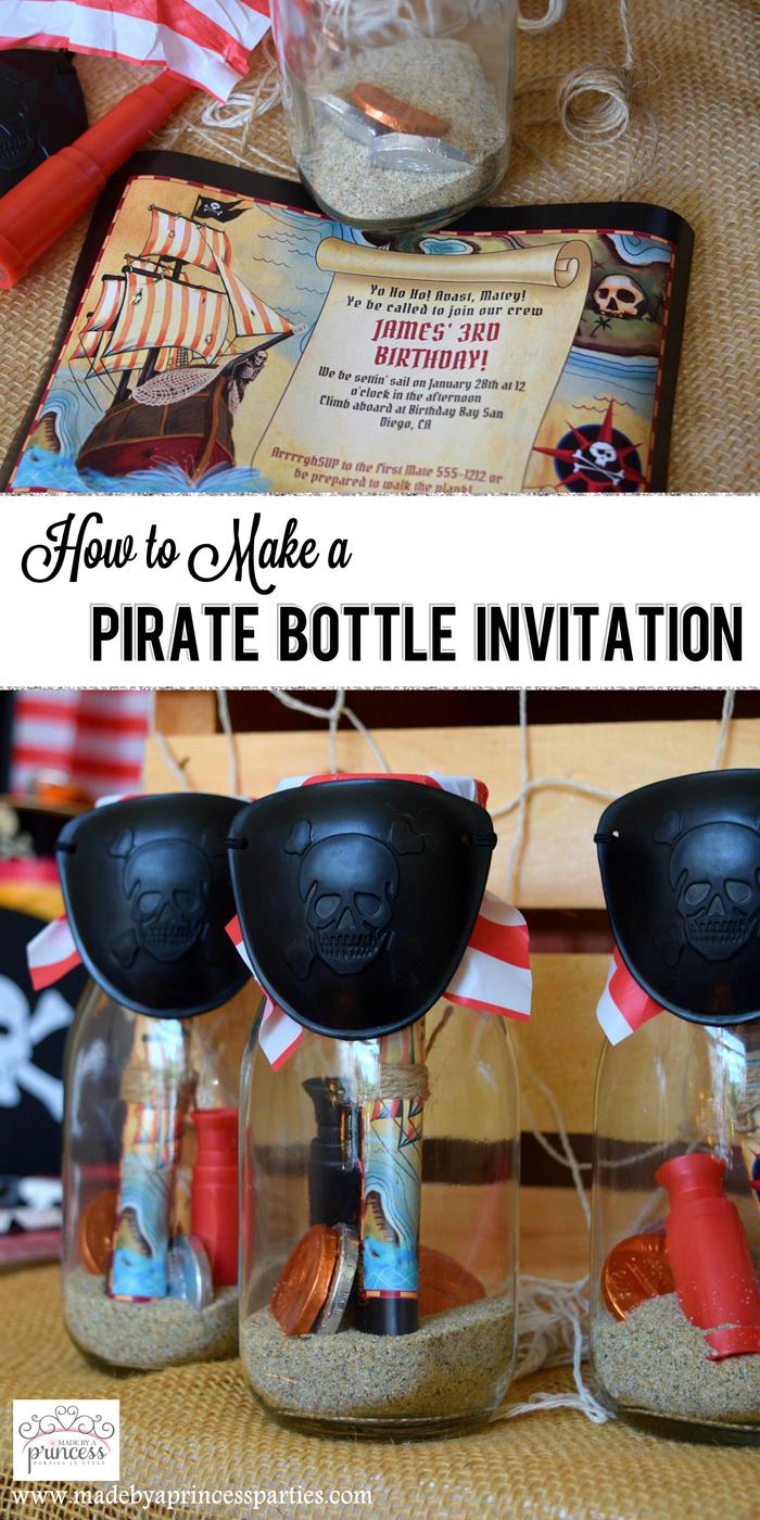 Pirate Bottle Invitations Party Idea pin it