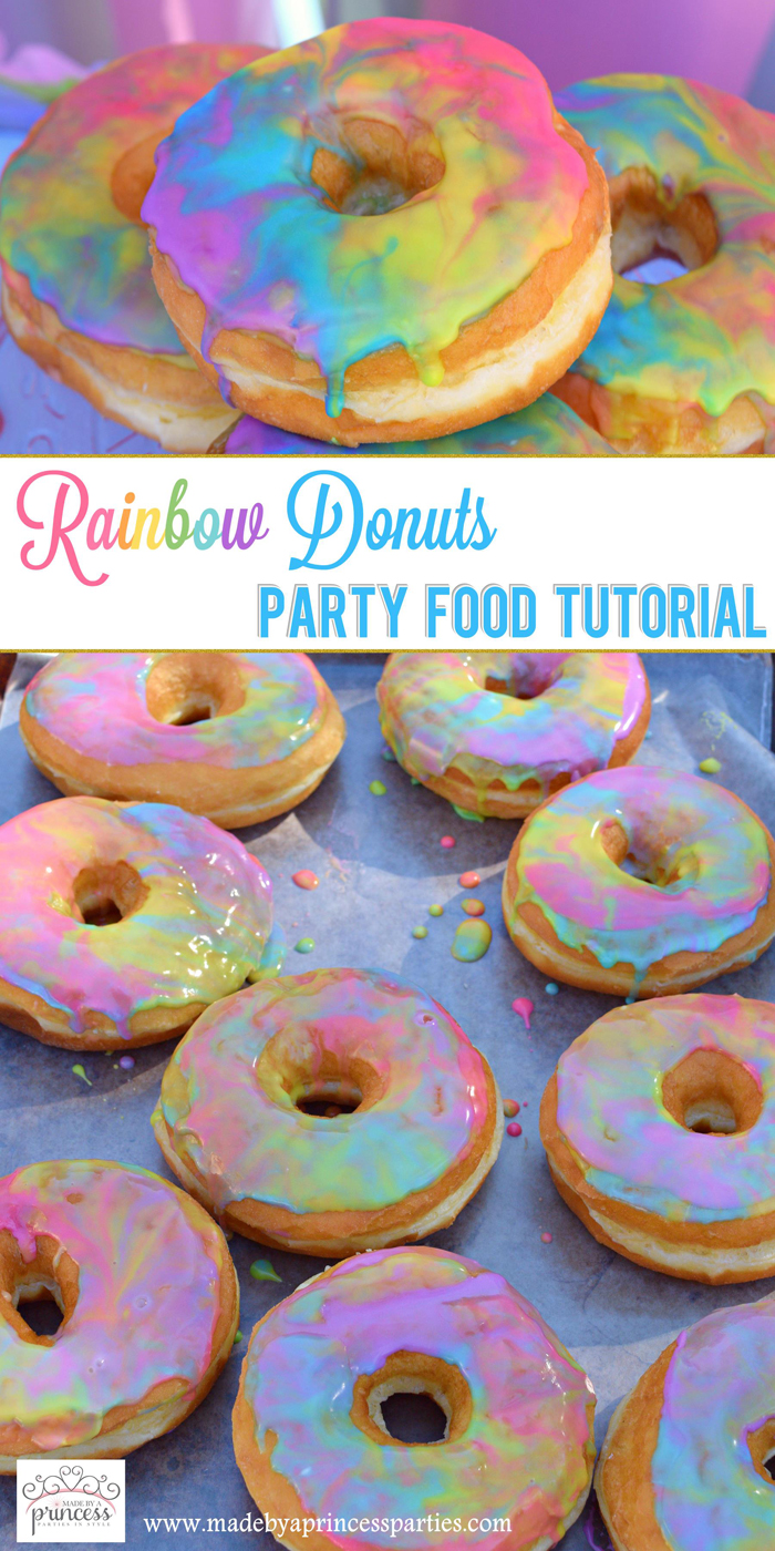 Rainbow Donuts Party Food Tutorial pin it
