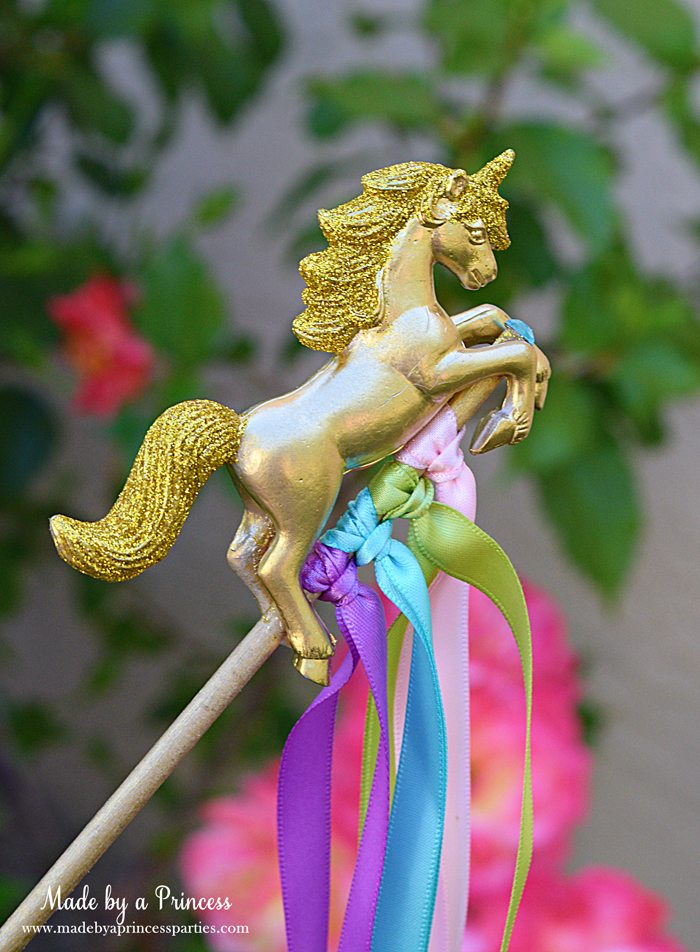 Unicorn Ribbon Wand Party Idea Tutorial easily embellish unicorns with paint and glitter