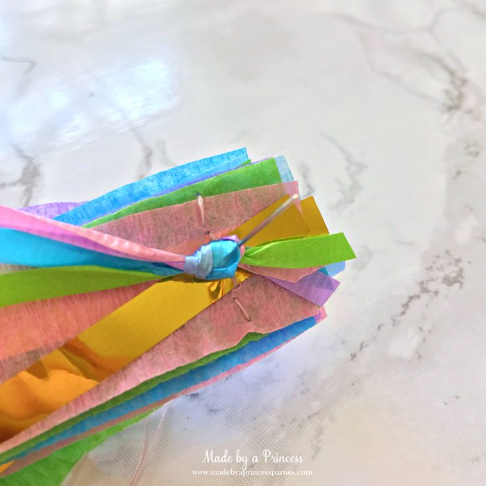 unicorn princess party hat idea tutorial push needle through layers including curling ribbon