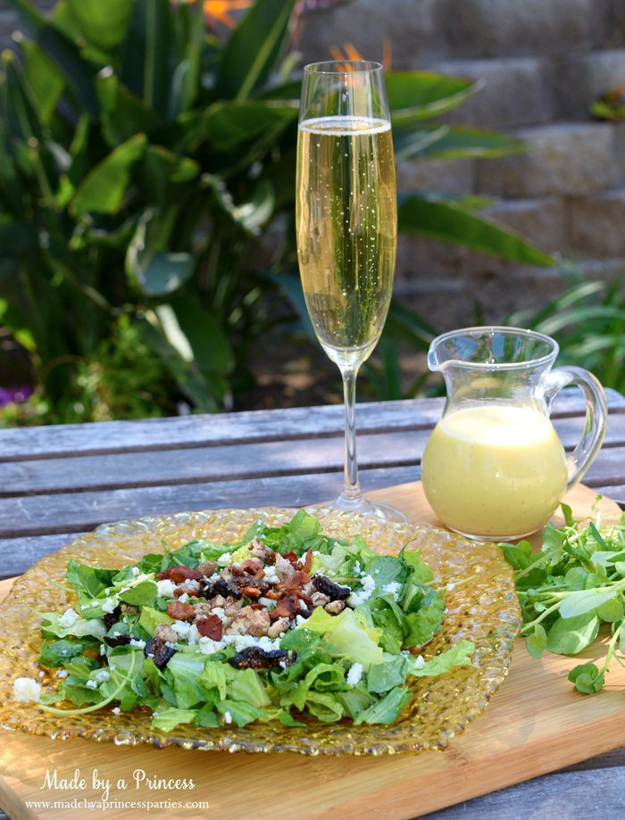 Fig Candied Pecan Gorgonzola Salad Honey Champagne Vinaigrette with champagne salad dressing and side of watercress