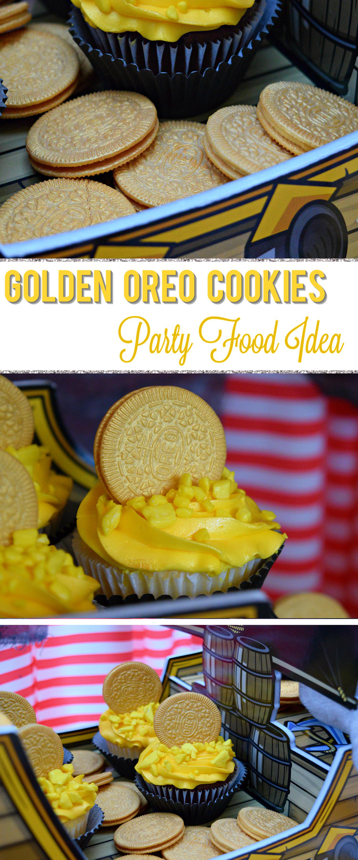 Gold Covered OREO Cookies Party Food Idea pin it