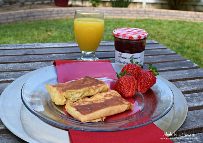 Savory Strawberry Preserves Toasted Coconut Almond Chicken Blintz Recipe serve with strawberries orange juice and jam