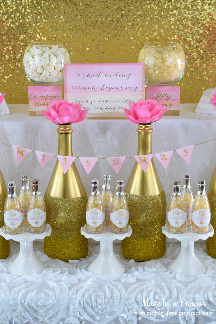 Pink Gold Party Candy Buffet glitter bottles and champs bottles