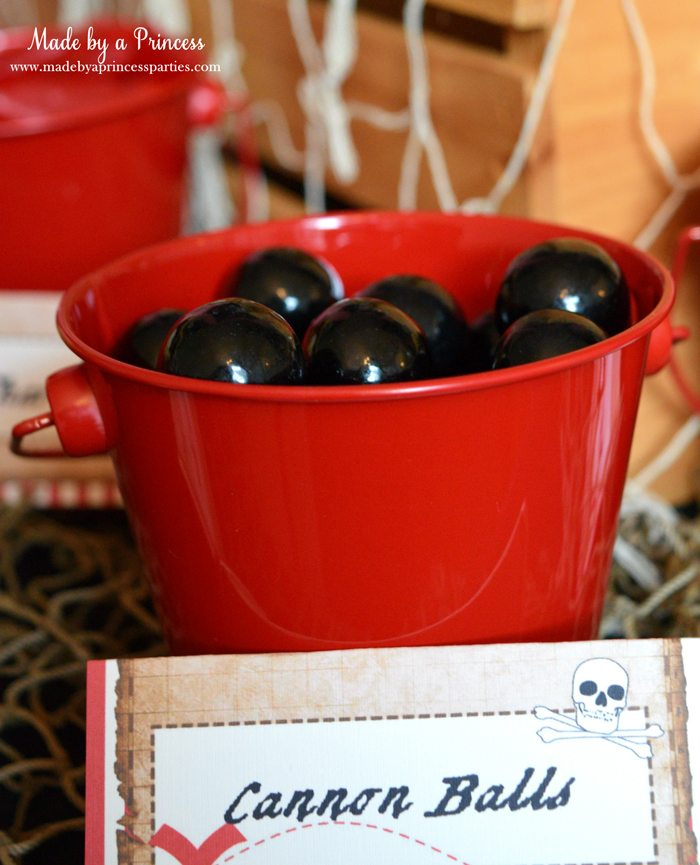 pirate party food free printables cannon ball gumballs