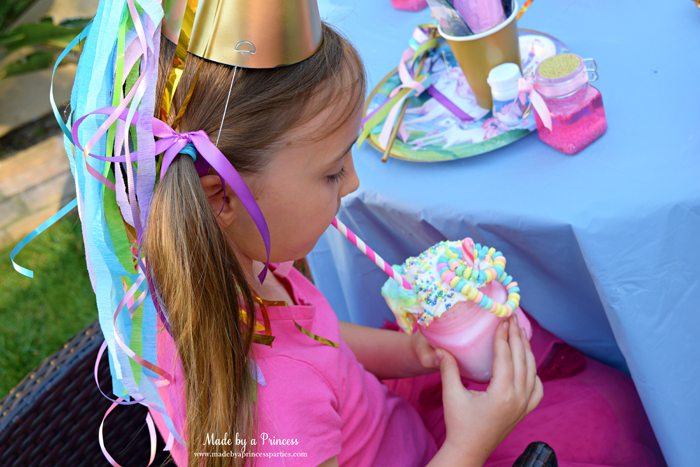 Cotton Candy Unicorn Milkshake Party Food Recipe party guest with custom hat