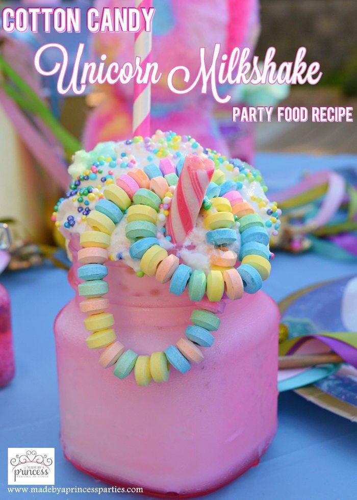 Cotton Candy Unicorn Milkshake Party Food Recipe