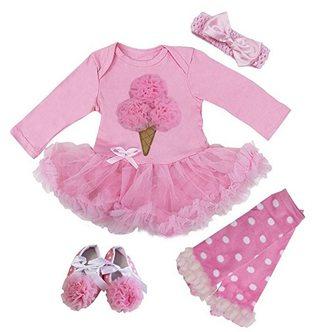First Birthday Ice Cream Party Ideas pink tutu dress leg warmers set