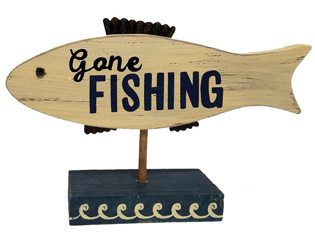 Fishing Baby Shower Ideas gone fishing sign for table