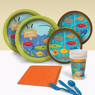 Fishing Baby Shower Ideas party set napkins plates cups