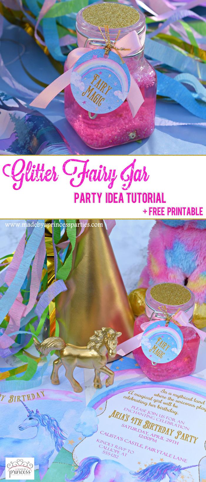 Glitter Fairy Jar Party Idea Tutorial pin it