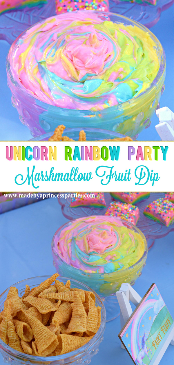 Unicorn Party Rainbow Marshmallow Cream Cheese Fruit Dip Recipe is as yummy as it is pretty #unicornparty #rainbowparty #partyfood #unicornfood #rainbowfood @madebyaprincess