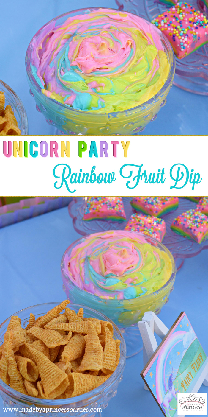 Unicorn Party Rainbow Marshmallow Cream Cheese Fruit Dip Recipe pin it