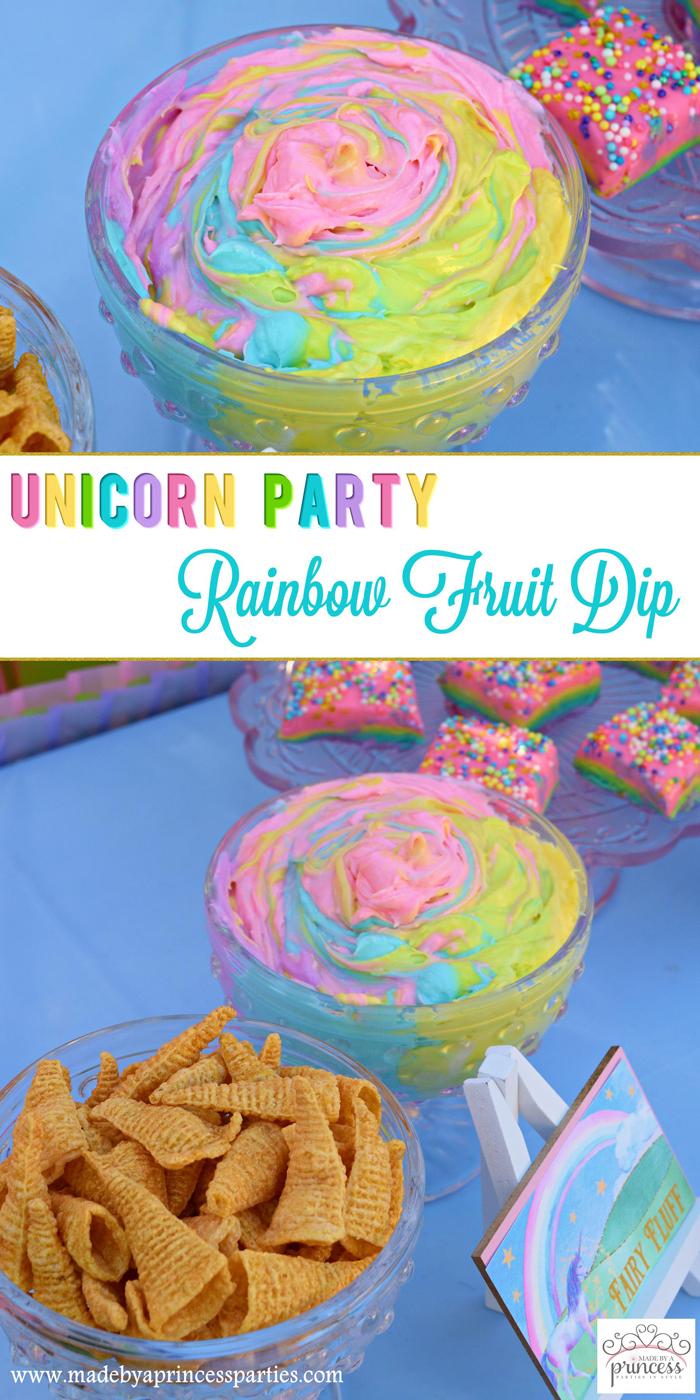 Unicorn Party Rainbow Marshmallow Cream Cheese Fruit Dip Recipe pin it