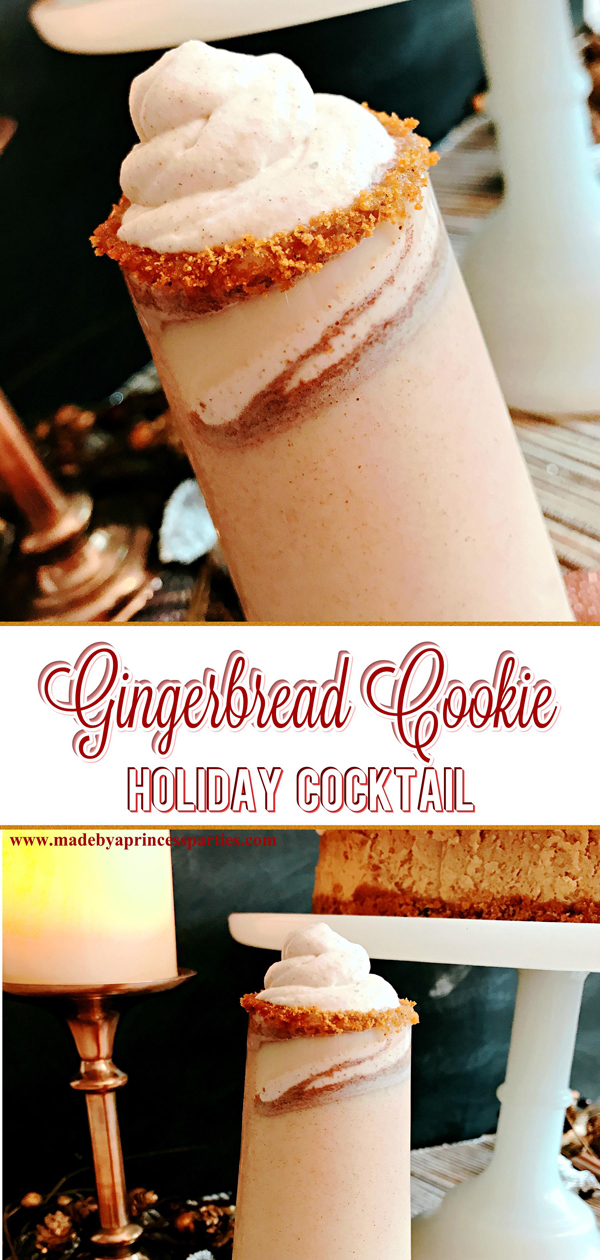 Creamy Gingerbread Cookie Holiday Cocktail Recipe tastes like comfort cozy and Fall all wrapped in a yummy package #gingerbreadcocktail @madebyaprincess