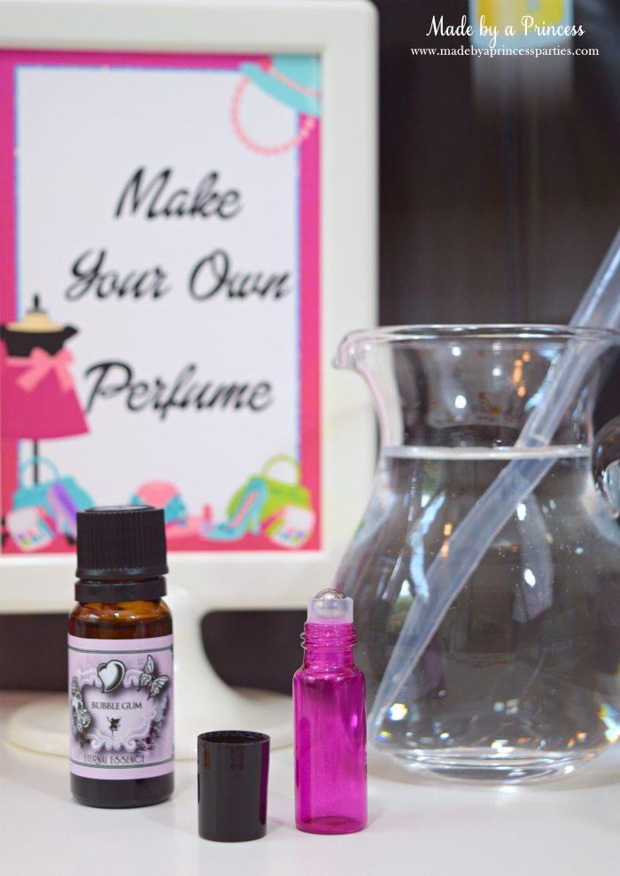 Fashionista Barbie Party Ideas DIY Perfume Station - Made by a Princess #barbie #barbieparty