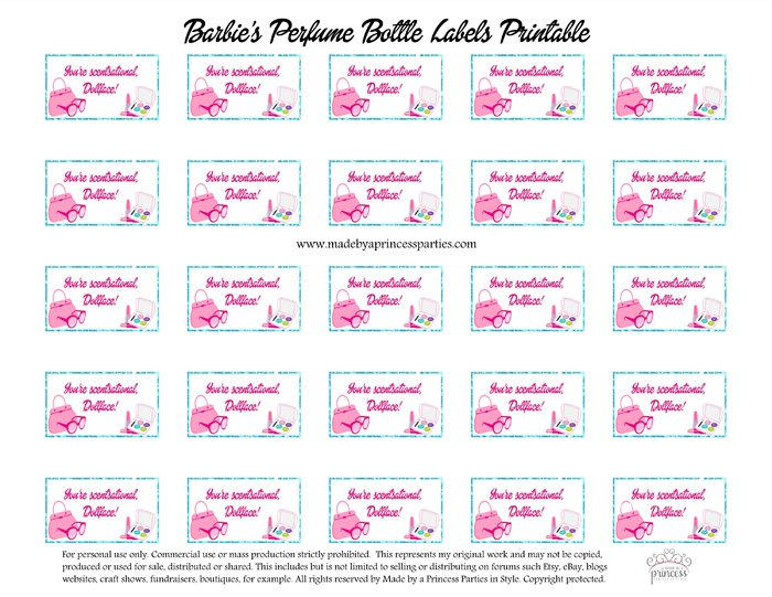 Barbie Party Perfume Station Custom Bottle Labels Free Printables - DIY Perfume Bar Sign - Made by a Princess